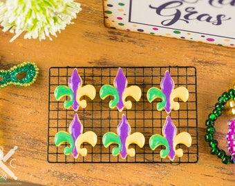 Made to Order Mardi Gras Fleur de Lis Cookies - Half Dozen - 1:12 Dollhouse Miniature