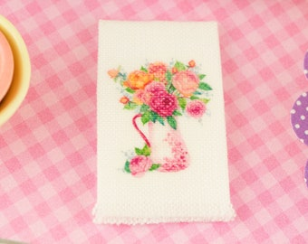 Made to Order Miniature Pink Floral Pitcher Tea Towel - Spring Kitchen Towel - 1:12 Dollhouse Miniature