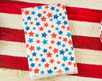 Miniature 4th of July Stars Tea Towel - 1:12 Dollhouse Miniature