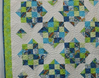 Modern blue and green quilt