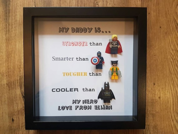 Personalised super-hero daddy son uncle brother lego frame. 4 | Etsy