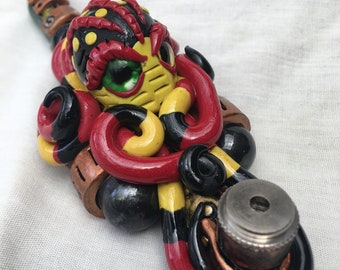 "7"" Psychedelic steam punk octopus tobacco pipe"