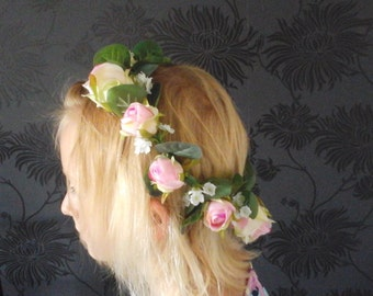 boho headband flowergirl headband bridesmaid headband flower  girl crown bridesmaid crown brides head band brides  flower   crown