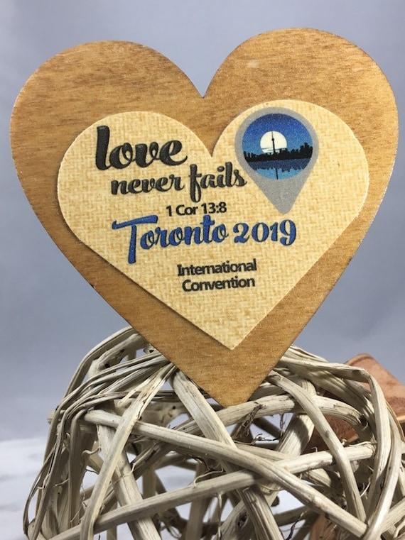 JW International 2019 Love Never Fails Convention <> Wooden Keepsake / Gift  / Magnet