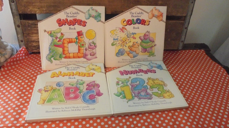 Set of Four Cuddly Beasties Hard cover Pop Up Books,  Collectible,1998,Printed in China,Nursery,Christmas,Book  Collection,Vintageteam