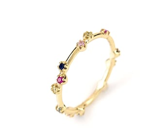 Cosmic Ring-Sterling silver 925 gold plated, stones colors