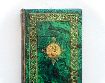 Rare book with celluloid malachite covers. Extremely unusual 19th century plastic book binding. Poems of Thomas Campbell, leather spine