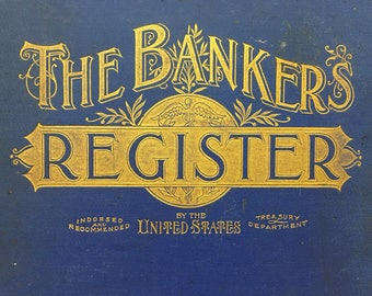 Rare 1897 Bank Directory: The Bankers Register. Color maps of each state in US, directory, small town names of cashiers & lawyers, genealogy