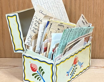 Get lost in this mid-century recipe collection, family favorites, handwritten treasures. Metal file box of index cards, jam packed!