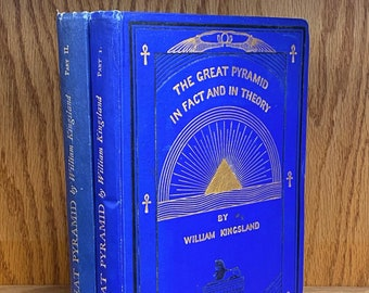 SIGNED Theosophist's book: The Great Pyramid in Fact and in Theory, by William Kingsland, 1932 first edition, two volumes illustrated books
