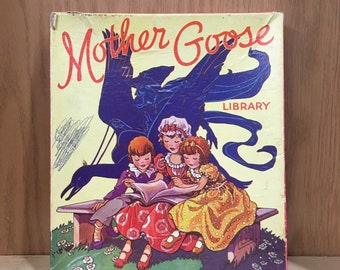Box set of 6 antique children's books, color illustrations on every page. Mother Goose Library, Sam'l Gabriel No. 2014, beautiful condition