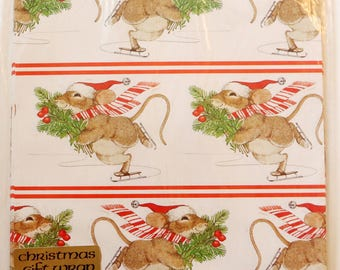 """Vintage 1979 Christmas Gift Wrapping Paper, 2 Sheets 30"""" x 24"""", Holiday Skater Mouse"""