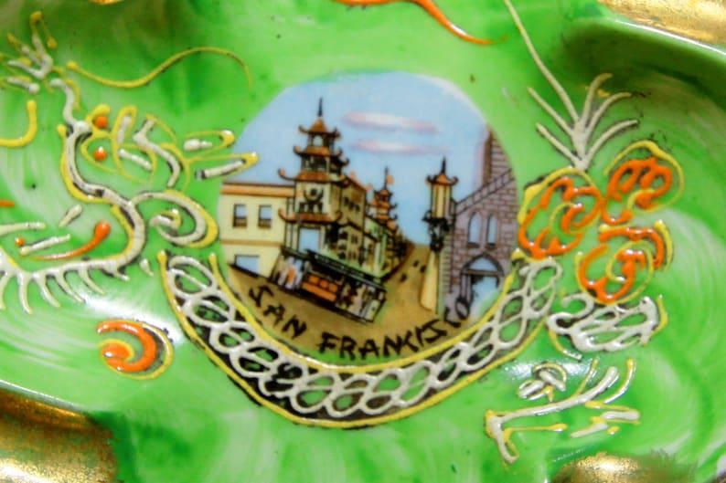 Chinatown-San-Francisco Porcelain-Handpainted Rich Green Color Vintage Ashtray
