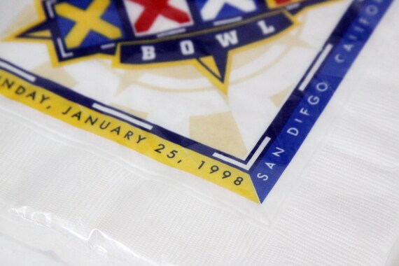 Party serviettes de table, Superbowl serviettes XXXII, NFL 1998, 16 serviettes Superbowl de table, neuf scellé, 6,75