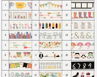 "Washi Sample Set - 24"" Samples of 4 Patterns of Your Choice"