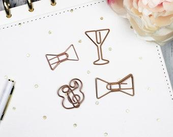 Rose Gold Designer Metal Clips - Bow, Martini Glass, Ampersand