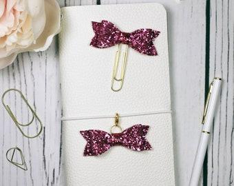 Pink Glitter Planner Clip & Charm - Bookmark - Planner Accessories