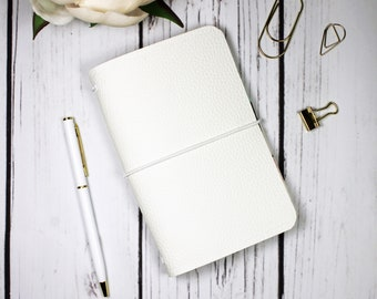 Handmade Refillable Pocket Travelers Notebook Cover with Inserts - Faux Leather and Fabric - Ready to Ship