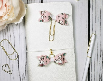 Pink Swan Planner Clip & Charm - Bookmark - Planner Accessories