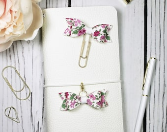 Purple Floral Planner Clip & Charm - Bookmark - Planner Accessories