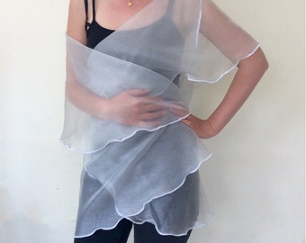 Sheer Silver Chiffon Wrap Shawl, Your Personal Spotlight--Bridal--Wedding--Mother of the Bride