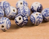 10 count 10mm vintage Chinese white and blue porcelain rounds with flower and symbol pattern motif round circular beads bead destash lot