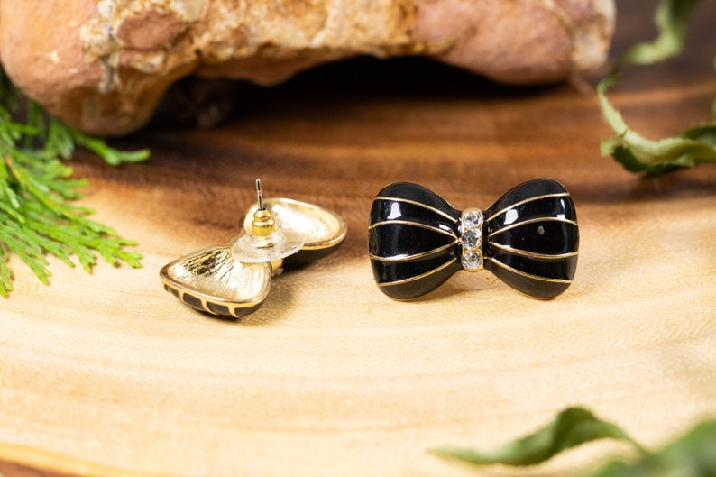 Vintage 1980s Gold and black twisting enamel big black bow earrings with rhinestones 32mm large great gifts for birthdays valentines
