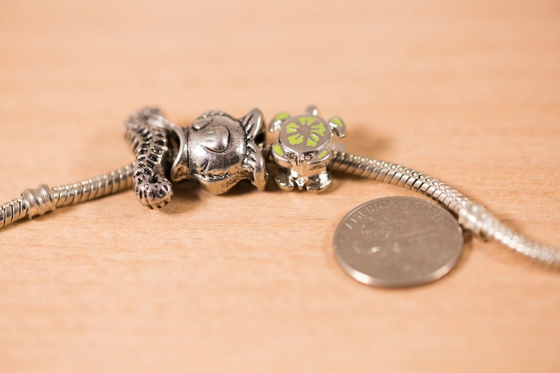 3 count mixed 12mm to 18mm fish turtle seahorse steel shaped beads metallic Jewelry european big hole beads