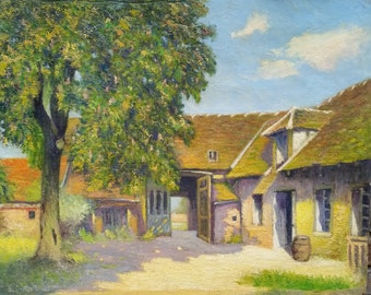Antique French Painting - Antique French Oil on Canvas Painting from Provence, Provencal Provincial French Painting