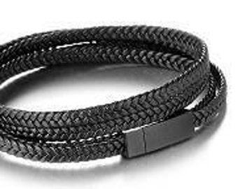 Men's Leather Bracelet (Black)