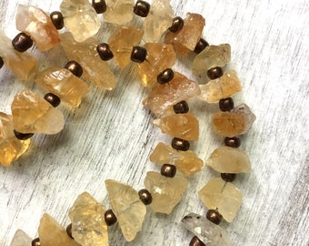 Raw rough Citrine gemstone necklace November birthstone birthday gift toggle clasp chunky juicy statement