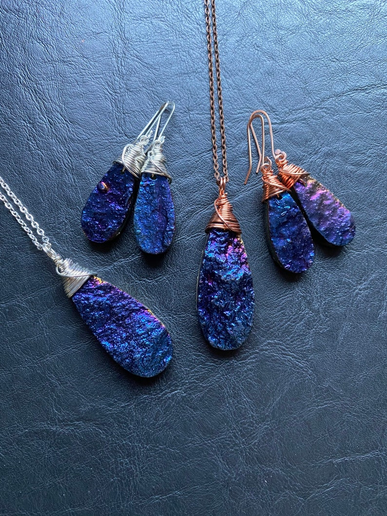 Rainbow Titanium Aura gemstone drop wire wrapped necklace earrings sterling silver sensitive handmade jewelry set unique gift healing blue