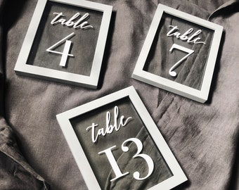 Float Frame Gray Chalk Paint Table Numbers - Wedding Reception Decor