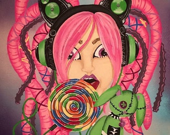 Pretty rave girl painting