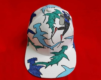 010c7aa99ff80 Illustrated Hat with Hammerhead Sharks