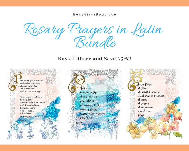 photograph relating to How to Pray the Rosary Printable titled Rosary Prayers within just Latin Deal, Catholic Printable Wall Artwork, Devotional Artwork via BenedictaBoutique