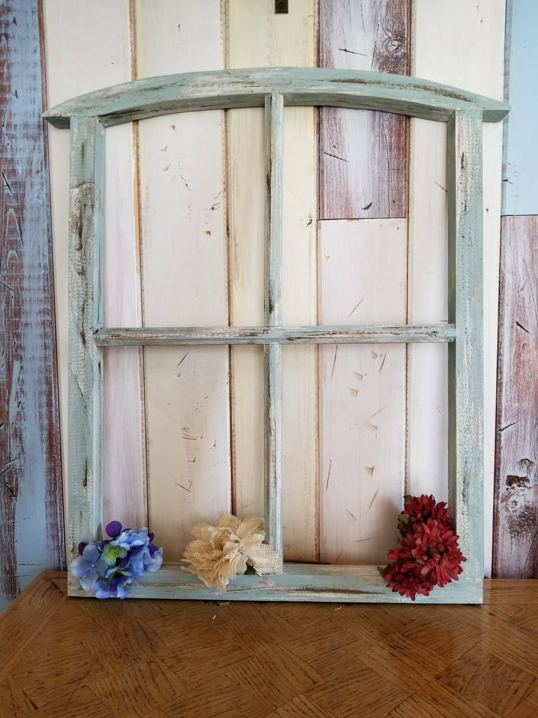 27 Rustic Old Window Frame Farmhouse Arched Window Etsy