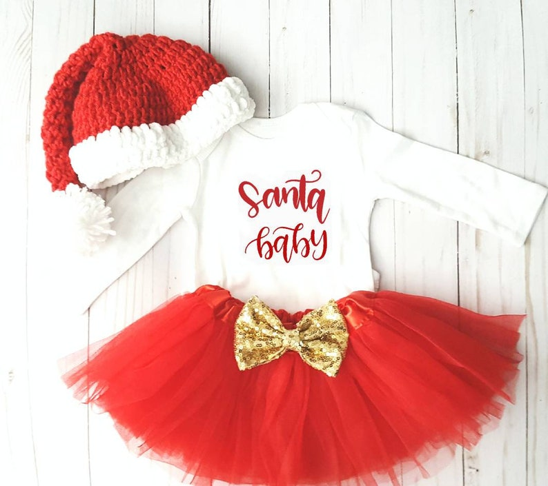 259ab64812be7 Santa Baby Christmas Tutu Girl Hat Outfit My 1st Christmas | Etsy