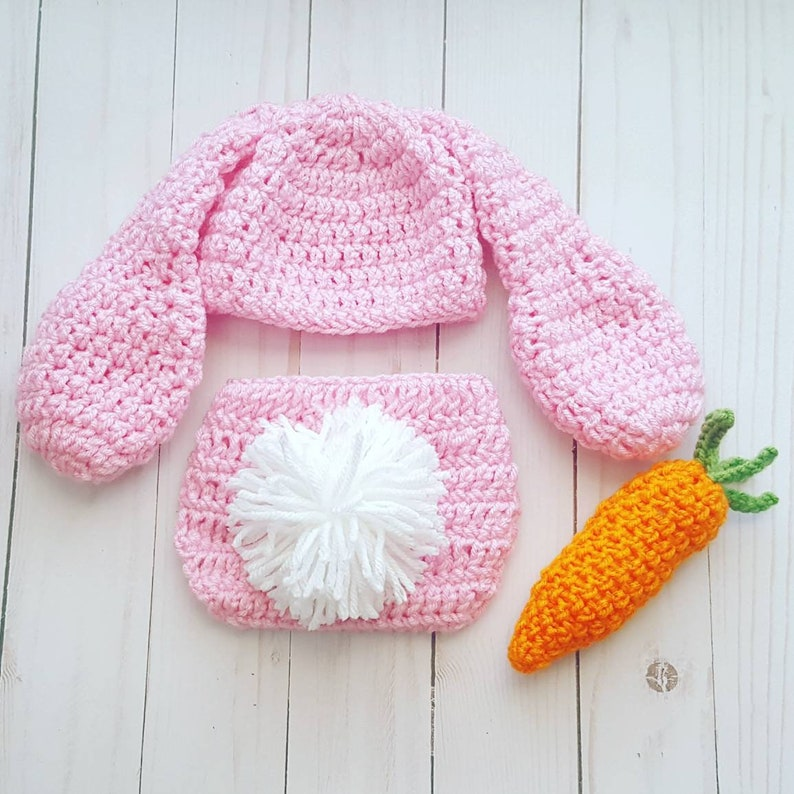 Bunny Rabbit Easter Outfit Costume Crochet Bunny Hat Diaper  3f203397332b