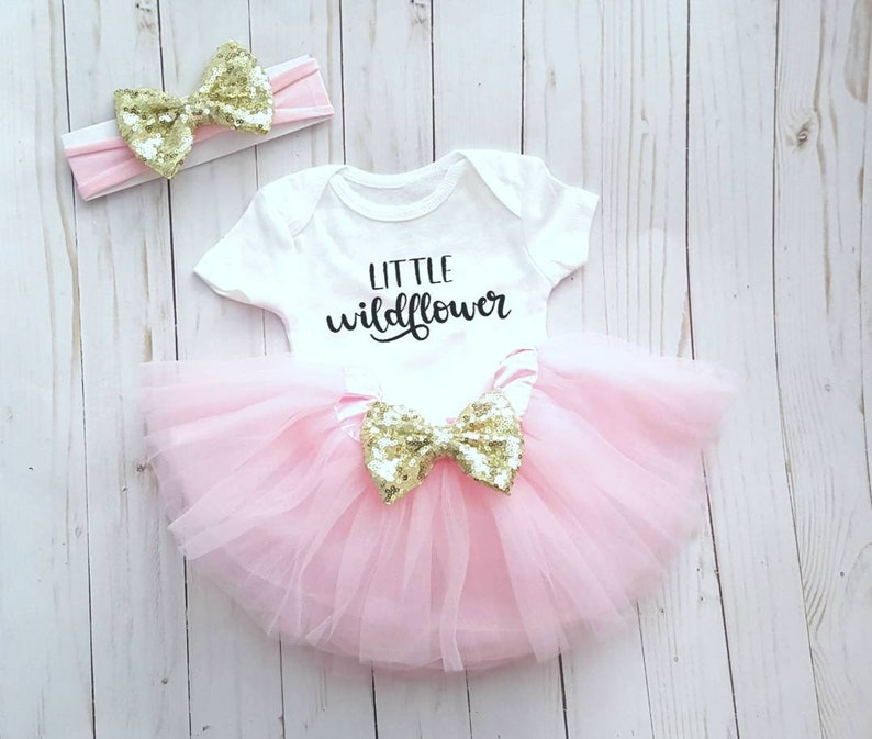 b73e0c922 Little Wildflower Tutu Outfit First Birthday Pink Gold | Etsy