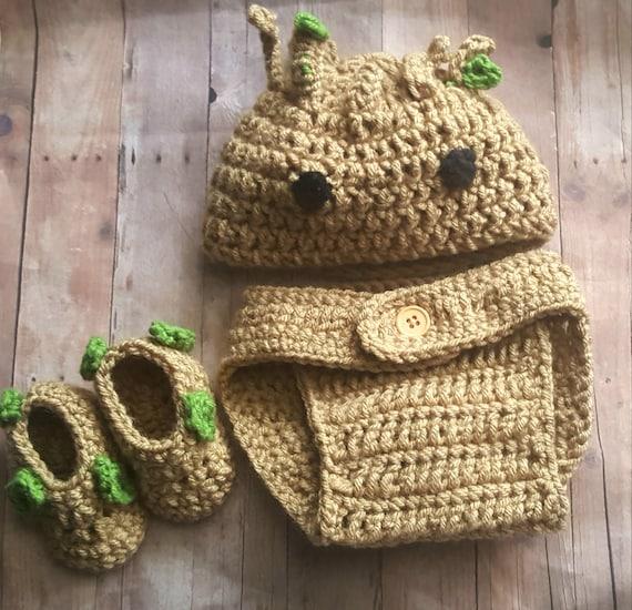 Baby Groot Marvel Halloween Kostüm Neugeborene Groot Häkeln Etsy