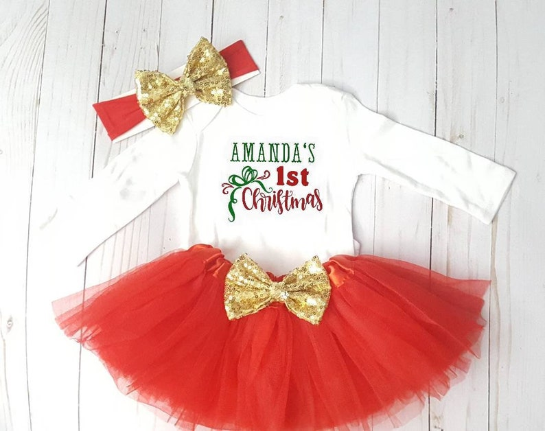 03d3540b7170 Baby Girl Christmas Personalized Day Tutu Set Outfit Santa   Etsy