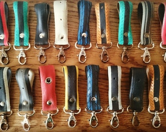 Belt keychains made from recycled bike tires