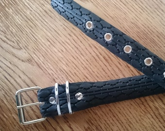 Black belt made from a recycled bike tire, with eyelets - 3,5cm wide