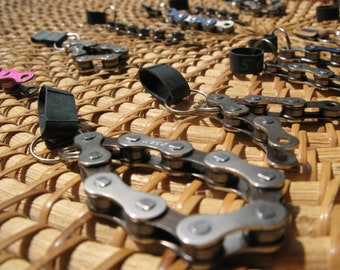 Key chain / key ring made from upcycled bicycle or motorbike chain