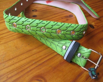 Green belt made from a recycled bike tire, with eyelets - 3,6cm wide