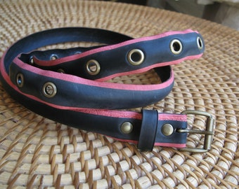 Black and pale red belt made from a recycled bike tire, with eyelets - 2,3cm wide