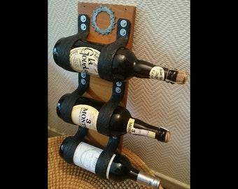 Wall bottle holder / wood + bicycle tire