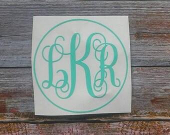Circle Monogram, Yeti Decal Monogram, Car Decal Monogram, Yeti Decal for Women, Monogram Decal for Laptop, Circle Monogram Yeti, Monogram