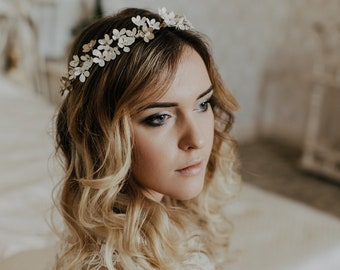 White cherry blossom crown, Bridal Hair Vine, White Sakura Blossoms Flower Crown, Blossom Hair wine, Flower crown wedding, Boho crown
